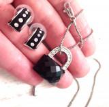 OFERTA-Set bijuterii dama-GHG -lantisor +cercei- PLACAT CU AUR alb 18K