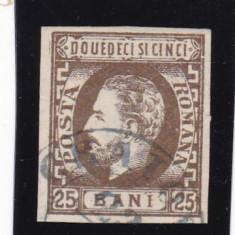 ROMANIA 1872 LP 33 CAROL I CU BARBA NEDANTELAT 25 BANI BRUN STAMPILA GALATI - Timbre Romania, Stampilat