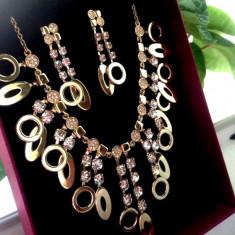 Set SUPERB bijuterii damaAQA-colier+cercei-placat cu Aur 18k si Swarovski-nunta