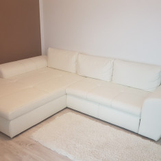 Canapea extensibila cu sezlong ecopiele Mobexpert