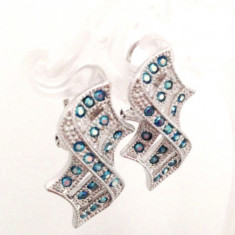REDUCERE-Cercei  CLIPS placati cu aur alb si CRISTALE ZIRCONIA -swarovski