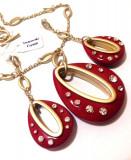 Set ROSU bijuterii dama RED -placat cu Aur 18k si Swarovski