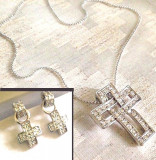 LICHIDARE-Set bijuterii dama-colier ,cercei-placat cu Aur alb 18k si Swarovski