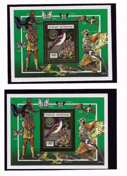 CENTRALAFRICA 1990 PASARI FLUTURI SCOUTING FOITA AUR