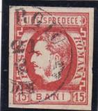 ROMANIA 1869  LP 27 CAROL I CU FAVORITI  VALOAREA 15  BANI ROSU STAMP. GIURGIU, Stampilat