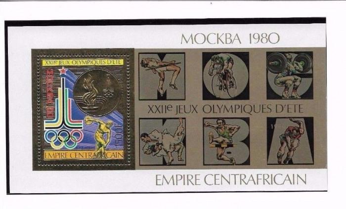 CENTRALAFRICA 1979 JOCURILE OLIMPICE MOSCOVA FOITA AUR COTA MICHEL 60 EURO