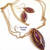 Set bijuterii MOV-placat cu Aur 18k si cristale swarovski - Set bijuterii placate cu aur