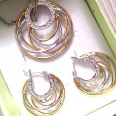 LICHIDARE STOC-Set bijuterii dama--placat cu aur alb si galben de 18k,Swarovski