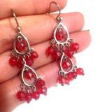 LICHIDARE-Cercei lungi SUPERBI rosii-  placati cu argint 925 tibetan