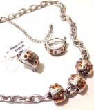 Set bijuterii dama-Pandora(colier+cercei)charm-cercei+colier-placat cu  Aur 18k