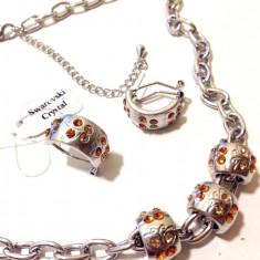 Set Pandora(colier+cercei)charm-cercei+colier- ARGINT placat cu Aur 18k - Set bijuterii handmade si fashion