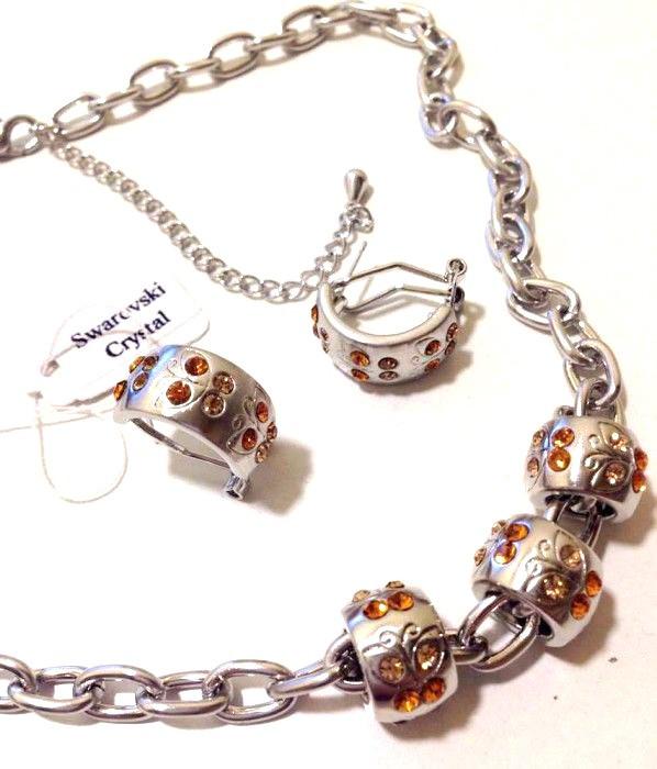 OFERTA- Set bijuterii-TIP Pandora(colier+cercei)charm-placat cu  Aur 18k