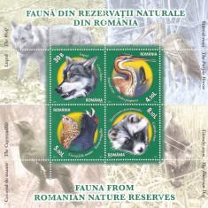 FAUNA DIN REZERVATII NATURALE,BLOC,2011,MNH, ROMANIA.