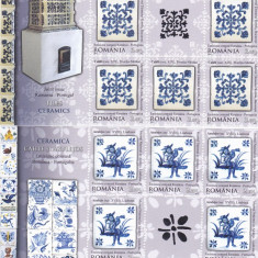 CERAMICA, ROMANIA-PORTUGALIA EMISIUNE COMUNA, MINISHEET, GOLD, 2010, MNH, ROMANIA. - Timbre Romania, Istorie, Nestampilat