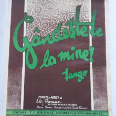 (T) Partitura muzicala veche, 1933, Gandeste-te la mine!, Elly Roman
