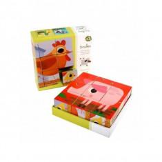Cuburi de lemn - Animale PiouPiou Djeco - Set de constructie