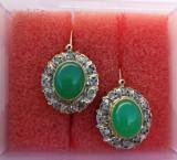 Cercei din aur cu jad si diamante styl DIANA PRINCESS