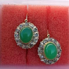 Cercei din aur cu jad si diamante styl DIANA PRINCESS - Cercei cu diamante