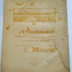 (T) Partitura muzicala veche, Randunelele - Romanta, Riria, E. Mezzetti