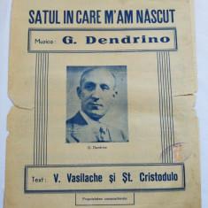 (T) Partitura muzicala veche, In satu'n care m'am nascut, Romanta, G. Dendrino