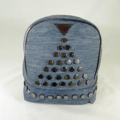Rucsac/ghiozdan dama albastru gen blug cu capse+CADOU - Rucsac dama, Textil