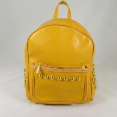 Rucsac/ghiozdan dama galben cu capse piele ecologica+CADOU - Rucsac dama