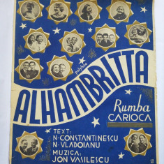 (T) Partitura muzicala veche 1934 Alhambritta - Rumba Carioca, interbelica