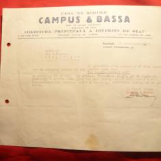 Adresa Antet Soc.Campus si Bassa- Loteria de Stat 1937 - Hartie cu Antet
