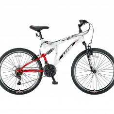 Bicicleta MTB Full Suspensie UMIT Octagon, culoare alba, roata 26