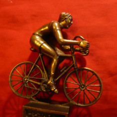 Statueta bronz - Ciclist, h= 11 cm - Sculptura