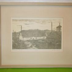 GRAVURA, vechi peisaj urban in Ostergotland, semnata, inramata, tablou - Litografie