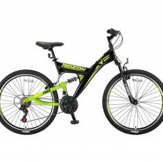 """Bicicleta MTB Full Suspensie UMIT Ride On , cuoare negru/verde , roata 24"""" , otePB Cod:2411000000, 21"""