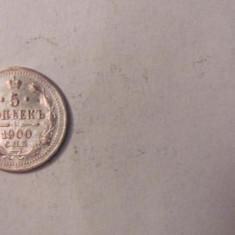 CY - 5 copeici kopeks 1900 Rusia / argint, Europa