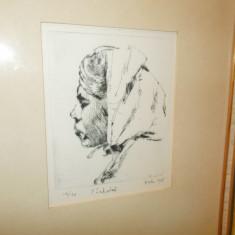 GRAVURA de Walter Peterson, serie mica, semnata, 1968, inramata, tablou - Litografie