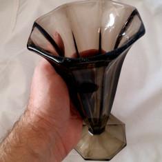 VAZA VECHE STICLA CRISTAL ART DECO PIESA COLECTIE CADOU MINUNAT DECOR ORNAMENT - Vaza sticla