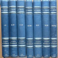 Alexandru D. Xenopol, Istoria romanilor, 1925 - 1926, 14 volume legate - Carte veche