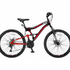 Bicicleta MTB Full Suspensie UMIT Albatros 2D, culoare negru/rosu, roata 26