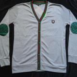 Jacheta L / XL gri coate verzi barbati cardigan pulover 6 nasturi bumbac - Pulover barbati