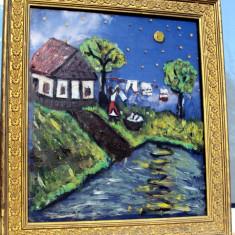 Tablou  pictura  naiva, Peisaje, Ulei, Altul