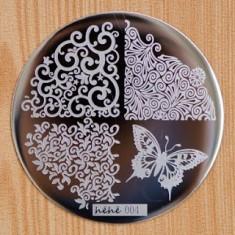 Matrita metalica pentru unghii Placuta mica Model Hehe 004 - Decoratiuni unghii