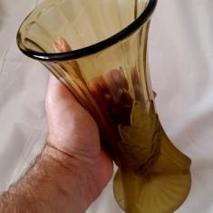 VAZA VECHE MOSER MASIVA CRISTAL AMBRA CHIHLIMBAR ART DECO PIESA COLECTIE CADOU - Vaza sticla