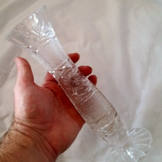 VAZA VECHE STICLA CRISTAL VINTAGE COLECTIE CADOU MINUNAT GRAVATA MANUAL - Vaza sticla