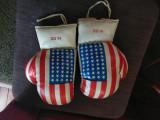 Manusi de Box USA Piele Alb White Stars and Stripes Flag 16OZ
