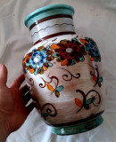 VAZA MARE 31CM MAJOLICA CERAMICA REALIZAT MANUAL CADOU DECOR ORNAMENT