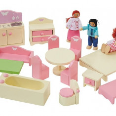 Set jucarii de lemn, mobilier casa, George Home wooden dolls house furniture