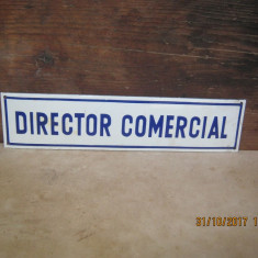 Semn emailat-Reclama emailata pe tabla-DIRECTOR COMERCIAL - Metal/Fonta