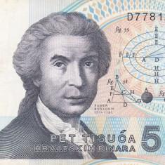 CROATIA 5.000 dinara 1992 VF!!! - bancnota europa