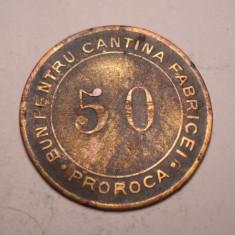 Jeton 50 bani bun pentru cantina Fabricei Proroca 1900 Fondianer Albuzzi - Jetoane numismatica
