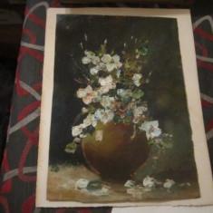 Tablou ulei pasta vechi pe carton 35x25cm fara rama semnatura pare falsa - Tablou autor neidentificat, An: 1926, Flori, Realism