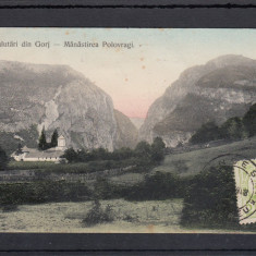 SALUTARI DIN GORJ MANASTIREA POLOVRAGI CIRCULATA 1908 TCV - Carte Postala Oltenia 1904-1918, Printata